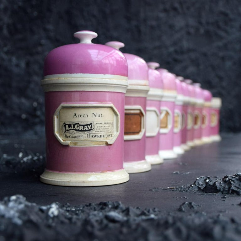 Rare collection of puce pink ground porcelain apothecary jars, circa 1880