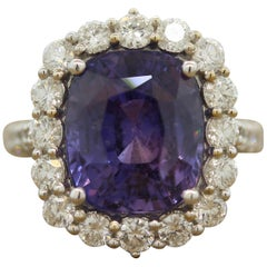 Rare Color Change Sapphire Diamond Gold Ring, GIA Certified