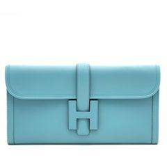 RARE COLOR* Hermes Jigé Elan Clutch Saint-Cyr Blue 29cm