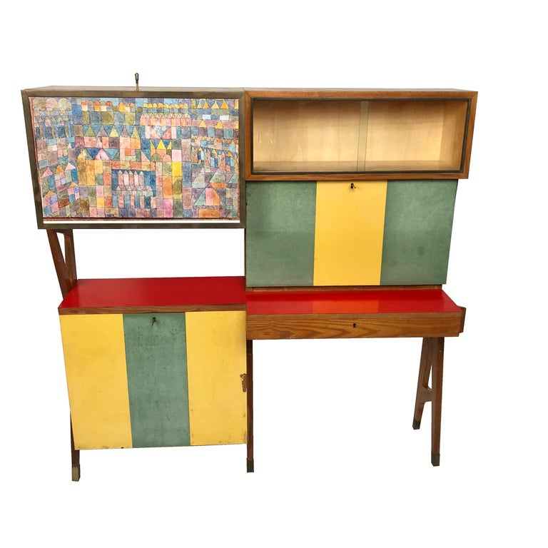 Rare Colored Italian Dry Bar Cabinet And Secretary Mid Century Modern For