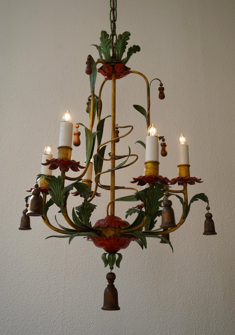Rare Colorful Painted Tole Chandelier For Sale 3