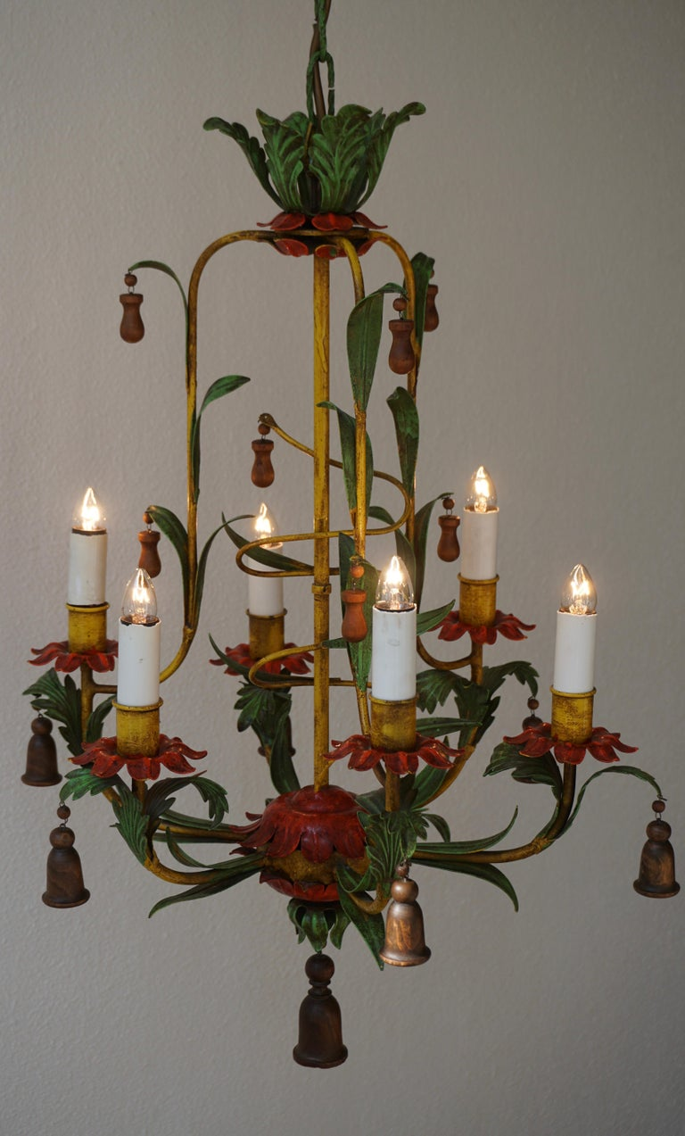 Rare Colorful Painted Tole Chandelier For Sale 4