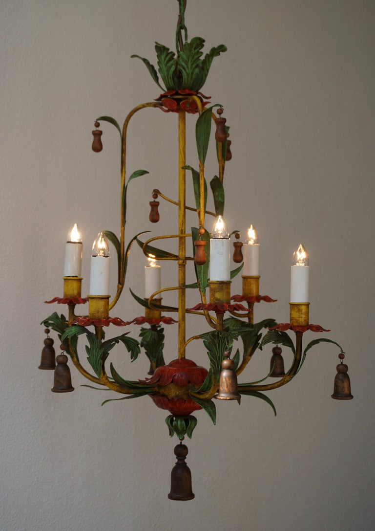 Rare Colorful Painted Tole Chandelier For Sale 5