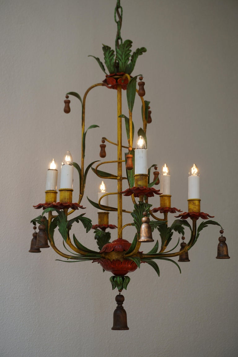Rare Colorful Painted Tole Chandelier For Sale 6