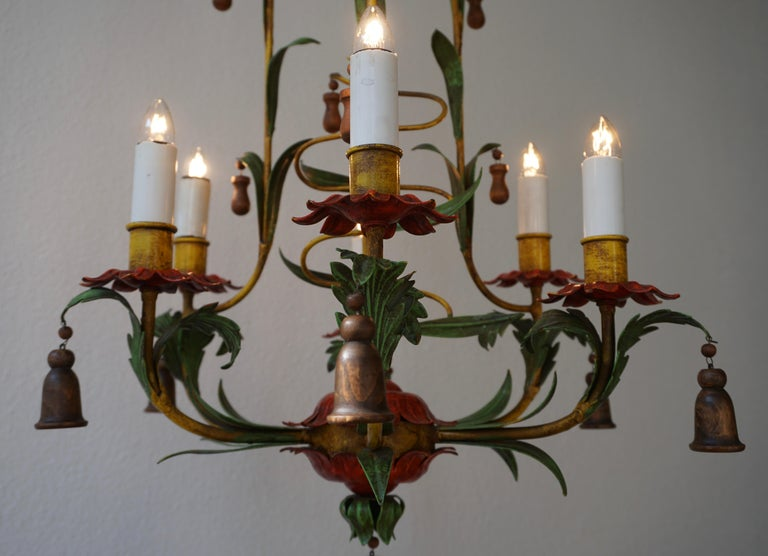 Rare Colorful Painted Tole Chandelier For Sale 7