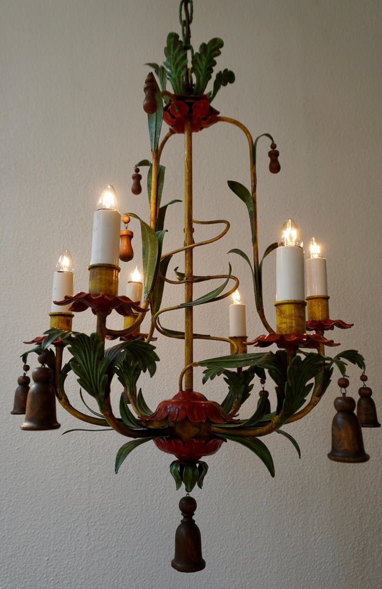 Rare Colorful Painted Tole Chandelier For Sale 8