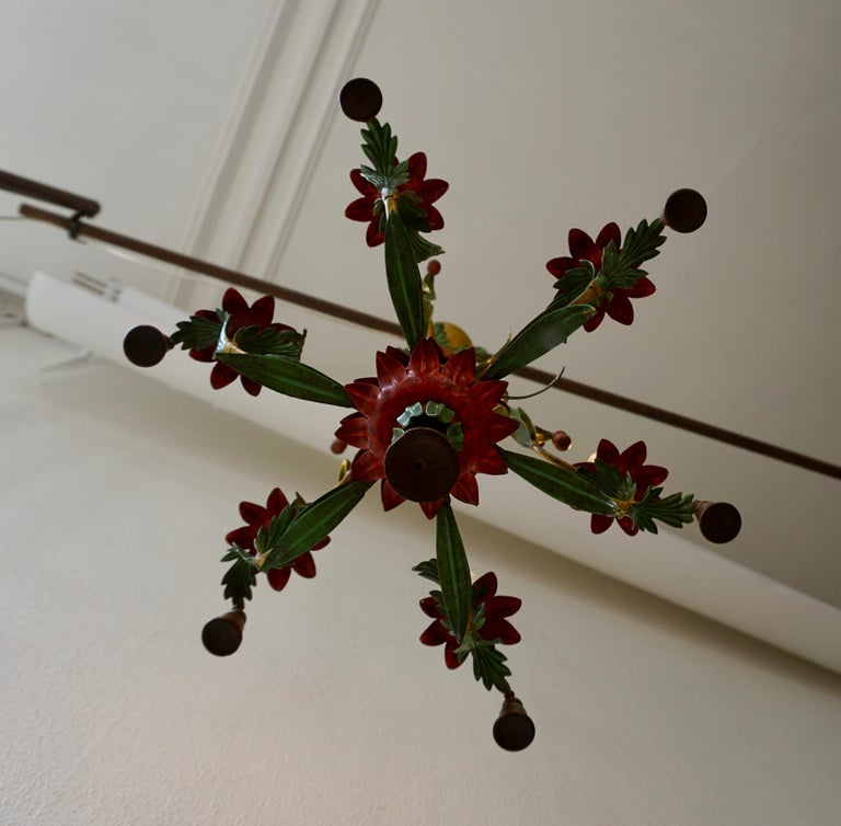 Rare Colorful Painted Tole Chandelier For Sale 9