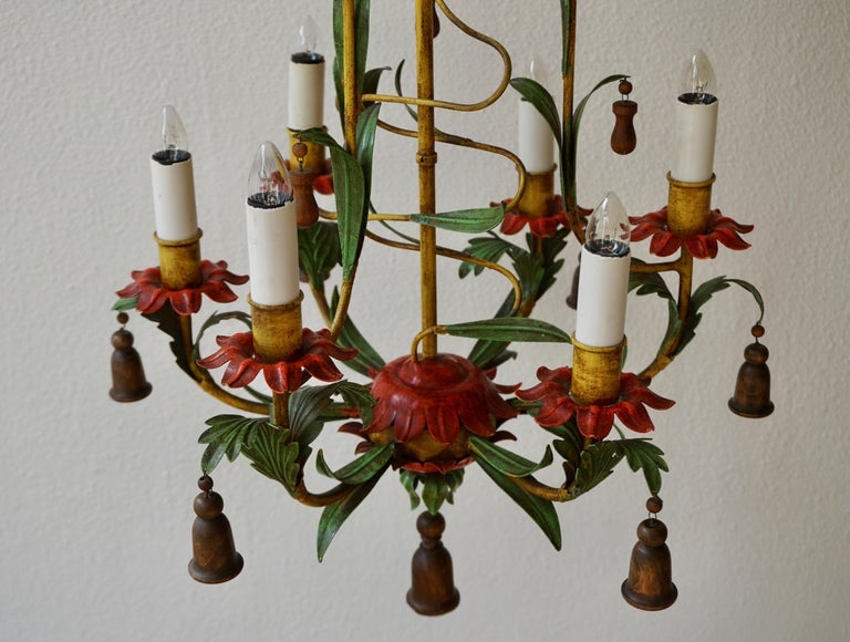 Rare Colorful Painted Tole Chandelier For Sale 10