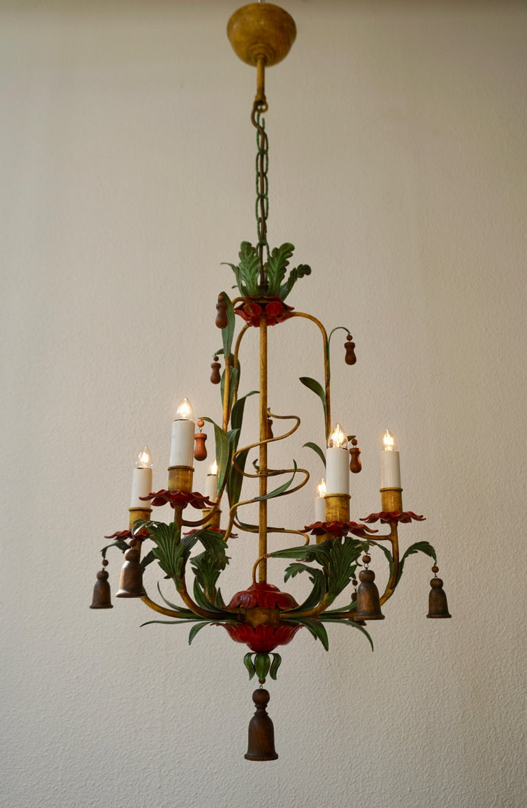 Hollywood Regency Rare Colorful Painted Tole Chandelier For Sale