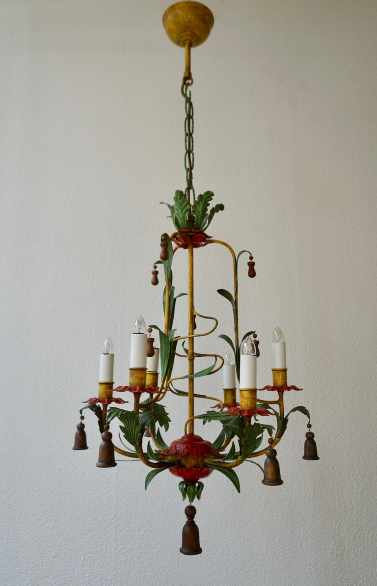 European Rare Colorful Painted Tole Chandelier For Sale