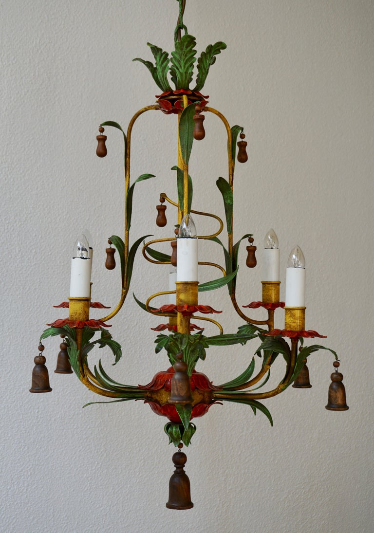 Mid-20th Century Rare Colorful Painted Tole Chandelier For Sale