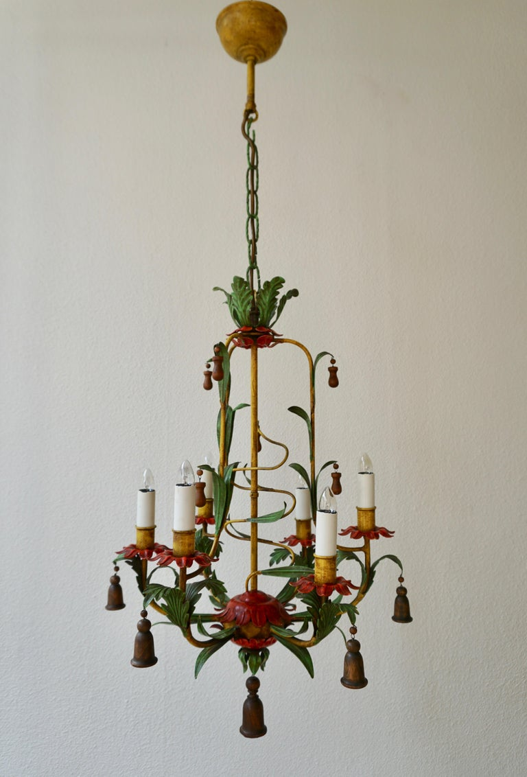 Iron Rare Colorful Painted Tole Chandelier For Sale