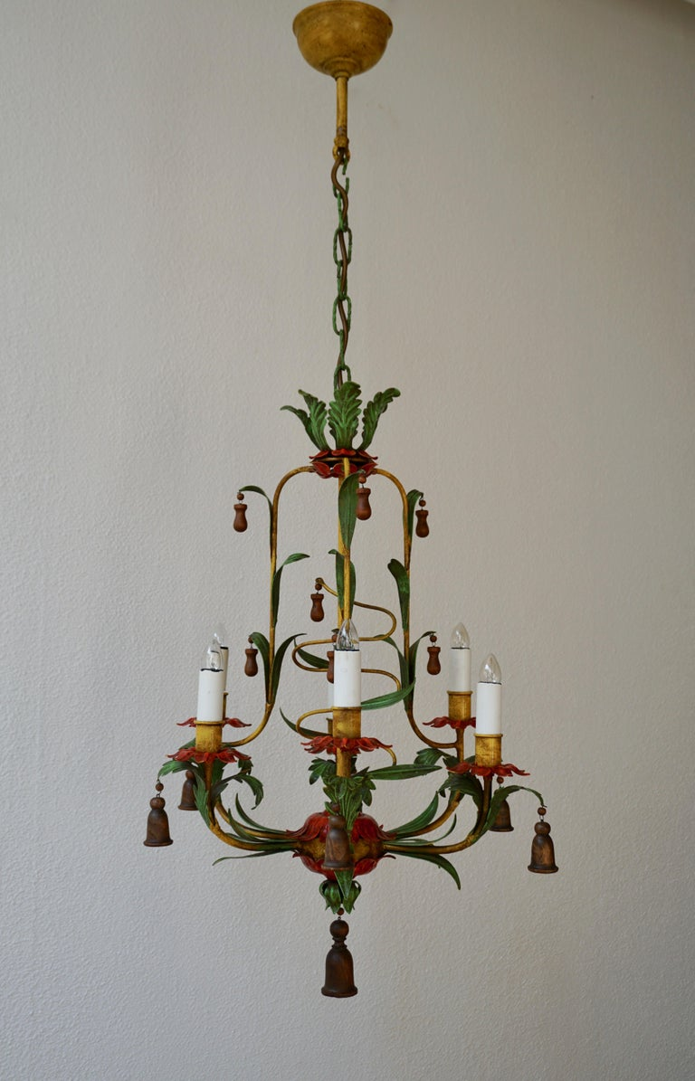 Rare Colorful Painted Tole Chandelier For Sale 1