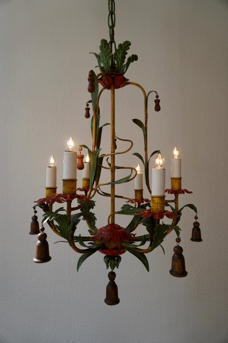 Rare Colorful Painted Tole Chandelier For Sale 2