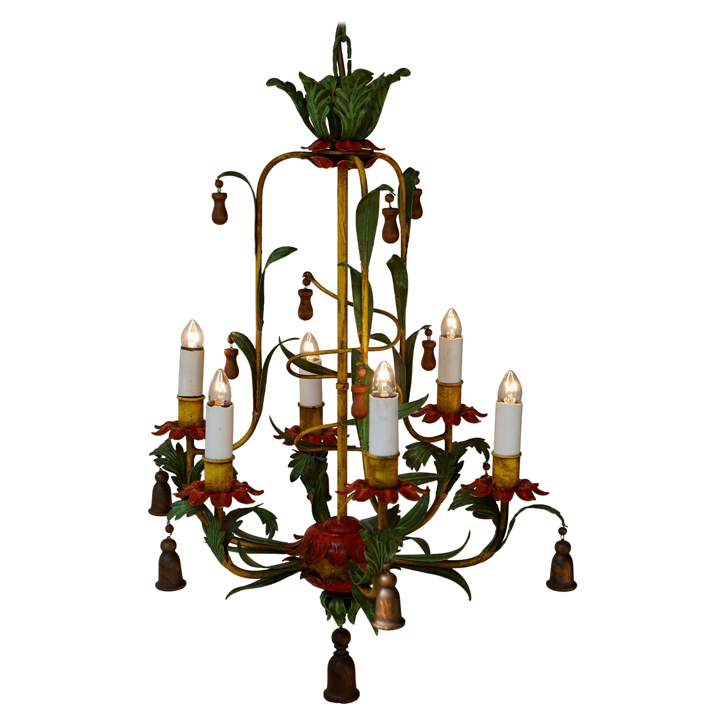 Rare Colorful Painted Tole Chandelier