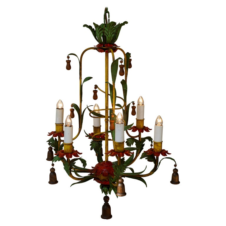 Rare Colorful Painted Tole Chandelier For Sale