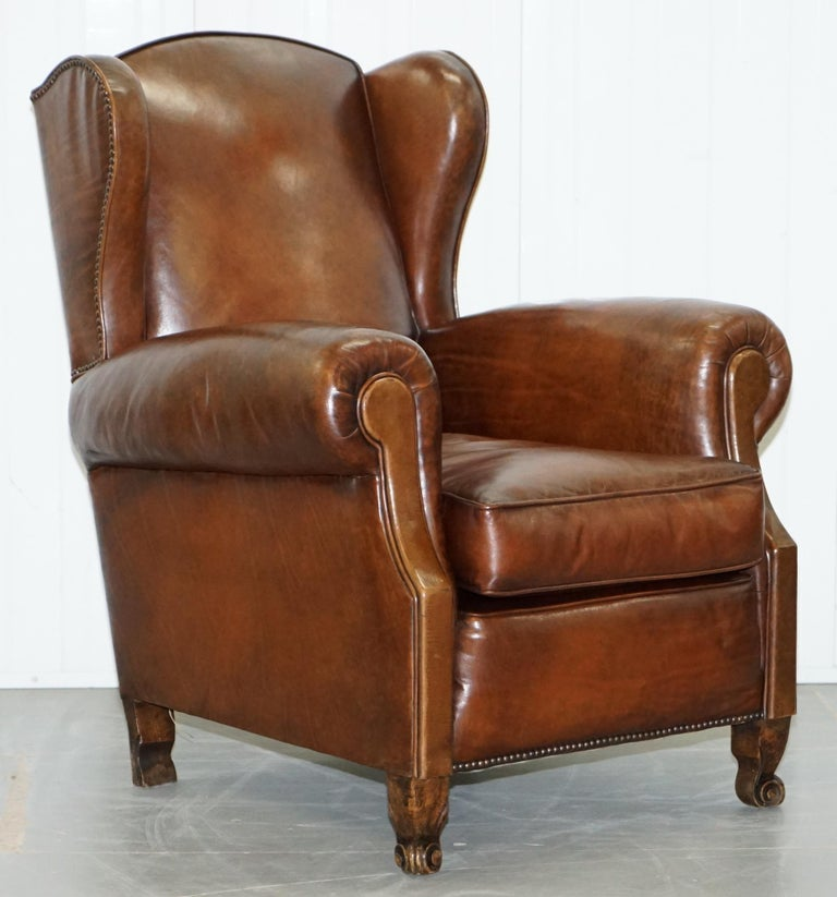 Rare Comfortable Victorian Wingback Whisky Brown Leather ...