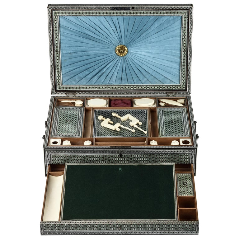 Rare Complete Early 19th Century Indian Sadeli Work and Writing Box For Sale