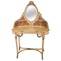 Rare Crème Painted Carved Cane French Louis XV Ladies Vanity with Mirror