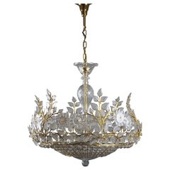 Rare Crystal Chandelier in the Style of Maison Baguès, France, 1950s
