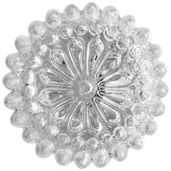 Rare Crystal Glass Ceiling or Wall Flushmount, 1960s