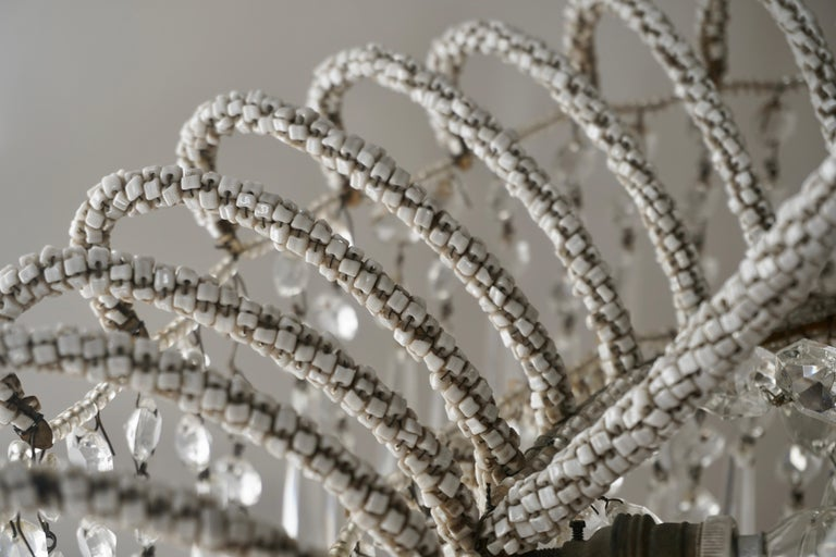 Rare Crystal Waterfall Chandelier Covered with Thousands White Murano Glasses For Sale 4