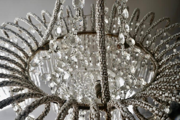 Rare Crystal Waterfall Chandelier Covered with Thousands White Murano Glasses For Sale 5