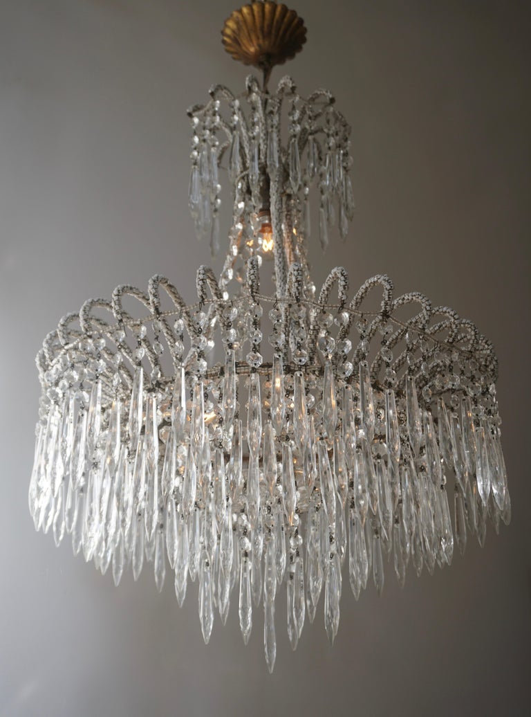 Italian Rare Crystal Waterfall Chandelier Covered with Thousands White Murano Glasses For Sale