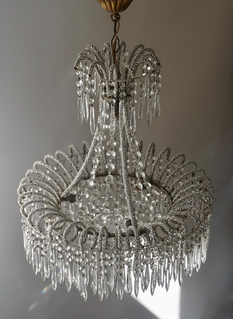 20th Century Rare Crystal Waterfall Chandelier Covered with Thousands White Murano Glasses For Sale