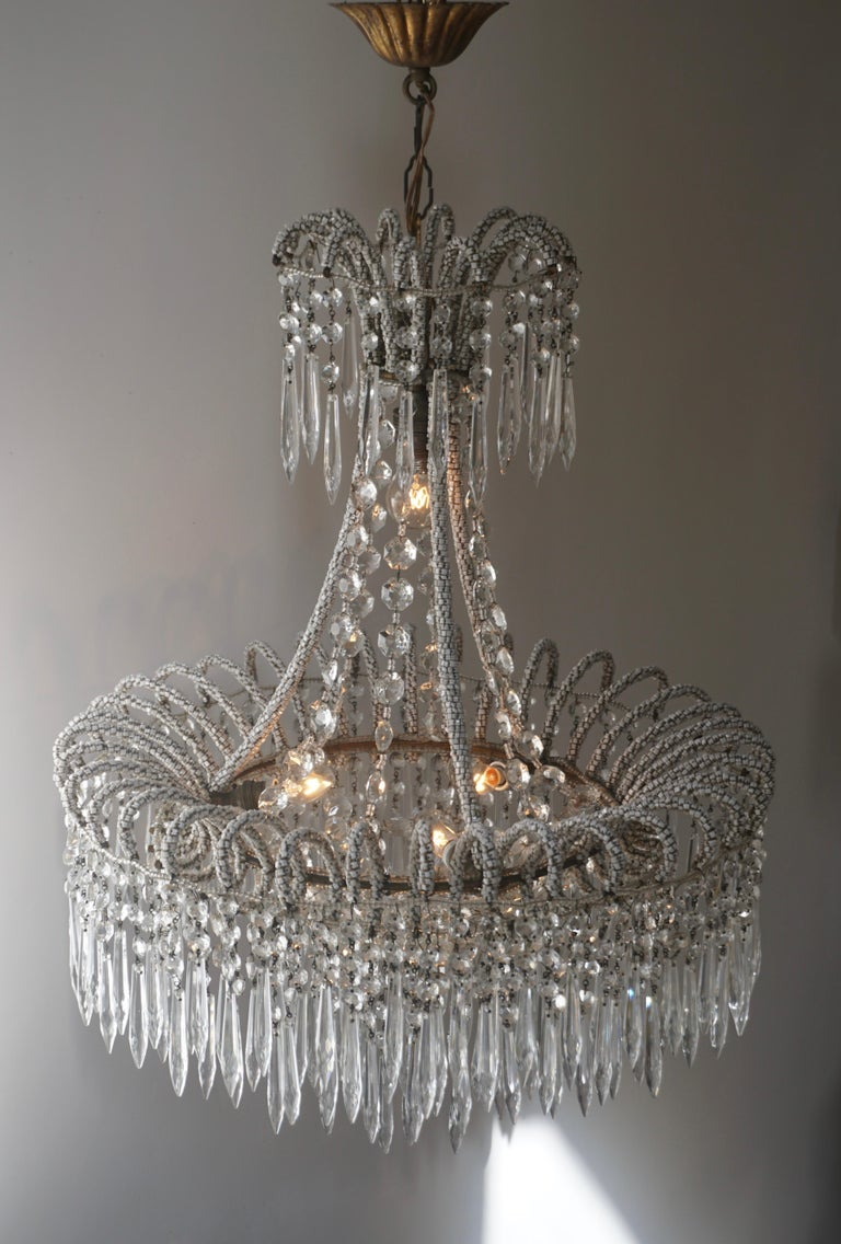 Brass Rare Crystal Waterfall Chandelier Covered with Thousands White Murano Glasses For Sale