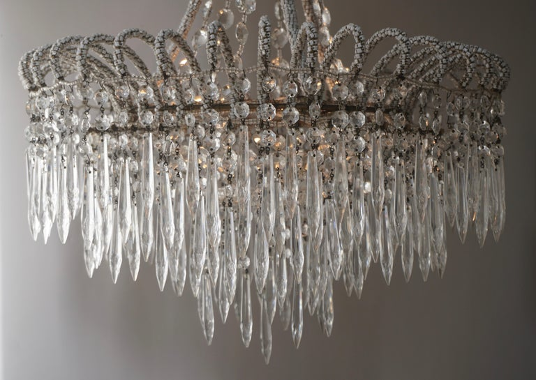 Rare Crystal Waterfall Chandelier Covered with Thousands White Murano Glasses For Sale 1