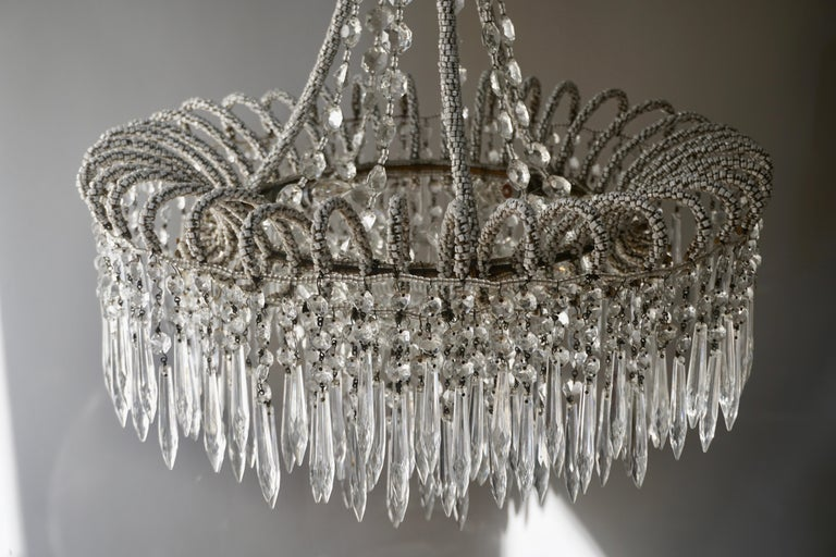 Rare Crystal Waterfall Chandelier Covered with Thousands White Murano Glasses For Sale 2