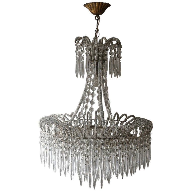 Rare Crystal Waterfall Chandelier Covered with Thousands White Murano Glasses For Sale