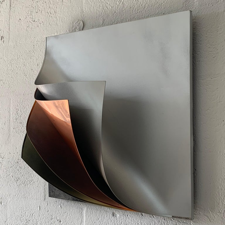 Post-Modern Rare Curtis Jere Pulled Metal Grey Copper Brass Chrome Black Wall Sculpture 1989 For Sale
