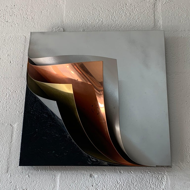 American Rare Curtis Jere Pulled Metal Grey Copper Brass Chrome Black Wall Sculpture 1989 For Sale