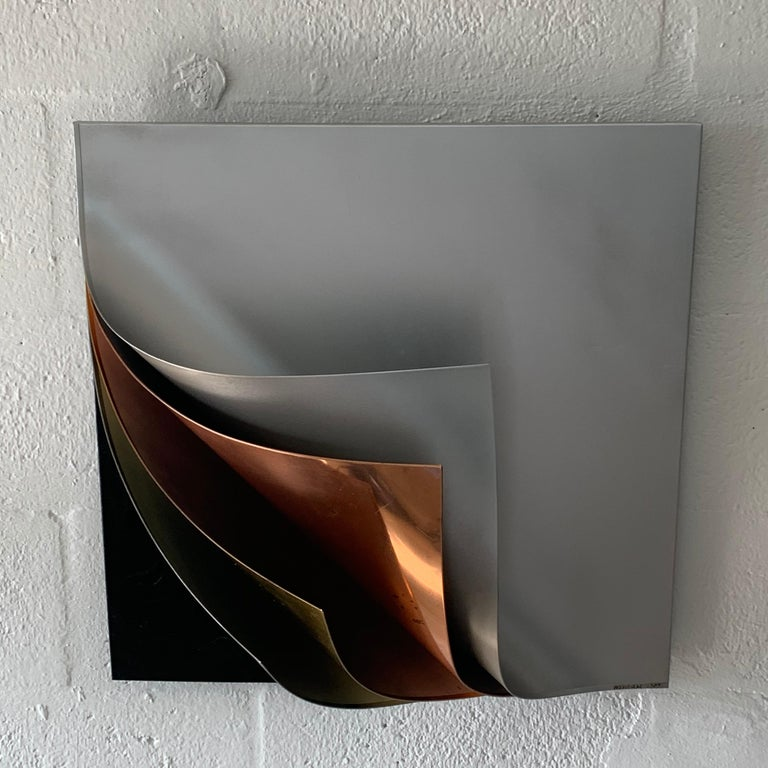 Painted Rare Curtis Jere Pulled Metal Grey Copper Brass Chrome Black Wall Sculpture 1989 For Sale