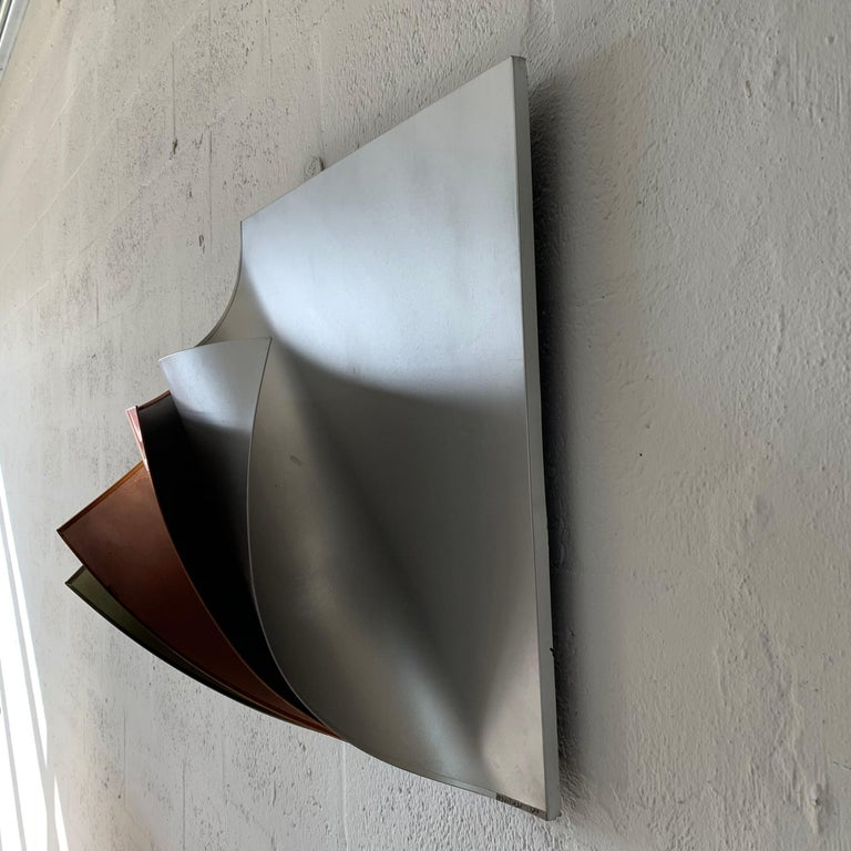 Rare Curtis Jere Pulled Metal Grey Copper Brass Chrome Black Wall Sculpture 1989 In Good Condition For Sale In Miami, FL