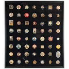 Rare Custom Framed Collection of 56 Antique Employee Photo ID Badges 1900s-1950s