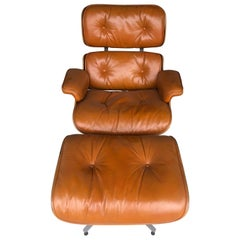 Rare Custom Herman Miller Eames Lounge Chair and Ottoman in Burnt Orange