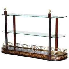 Rare Custom Made Versace Mahogany & Brass Console Bookcase Display Sideboard