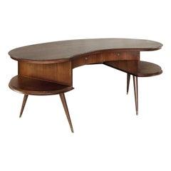 Rare Custom Mid-Century Modern Dutch Wenge Boomerang Desk, 1960s
