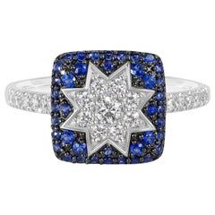 Rare Customizable Blue Sapphire White Diamond White Gold Protective Star Ring