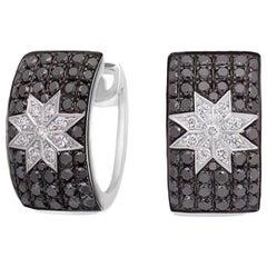 Rare Customize Black Diamond White Gold Earrings