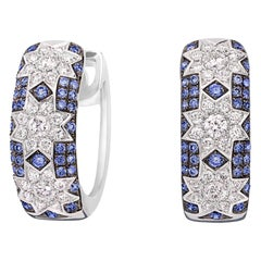 Rare Customize Blue Sapphire Diamond White Gold Earrings