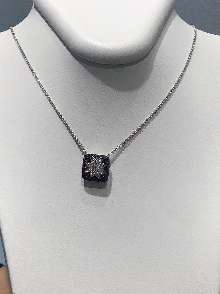 Women's Rare Customize Blue Sapphire Diamond White Gold Necklace For Sale