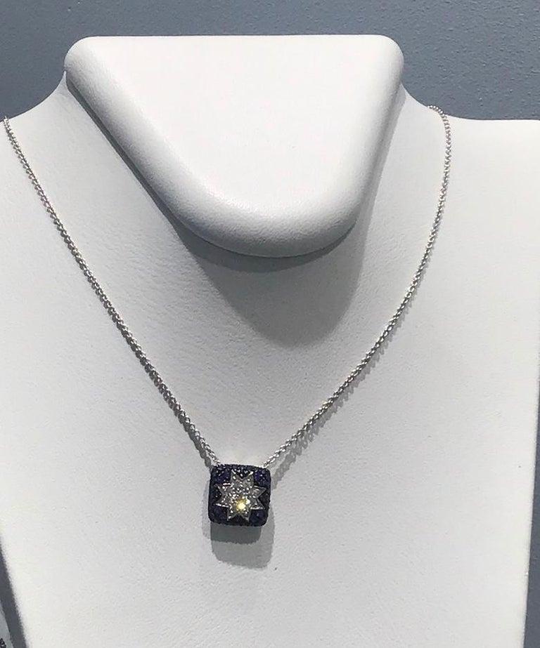 Rare Customize Blue Sapphire Diamond White Gold Necklace For Sale 1