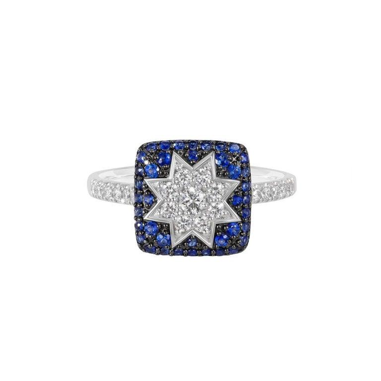 Rare Customize Blue Sapphire Diamond White Gold Necklace For Sale 2