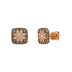 Rare Customize Cognac Diamond Yellow Gold Earrings