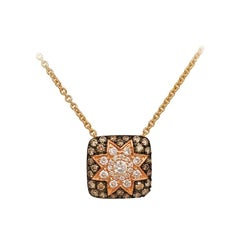 Rare Customize Cognac Diamond Yellow Gold Necklace