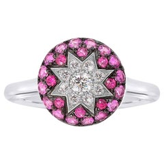 Rare Customize Ruby Pink Sapphire Diamond White Gold Ring